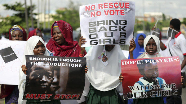 Schoolgirls take part in a protest demanding the release of abducted secondary school girls from the remote village of Chibok, in Lagos