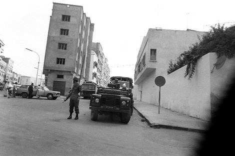 File photo dated 26 June 1981 shows military on patrol in the streets of Casablanca almost a week after hundreds of people were killed or injured in anti-Governement riots when police fired into a crowd protesting against food prices. In 1980 Morocco embarked on a stabilisation program and concluded an agreement with the IMF, reducing food subsidies leading to a 50% increase in the prices of essential consumer goods, sparking widespread riots in Casablanca.